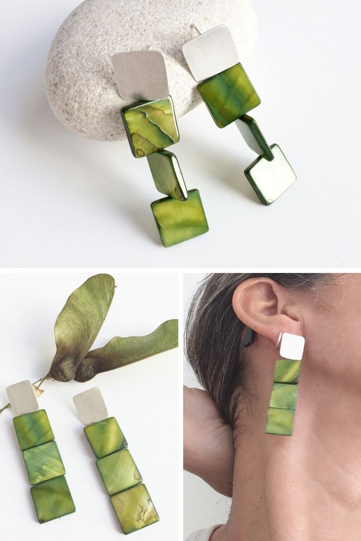 Statement square earrings  – ETSY Jewelry Carla Amaro