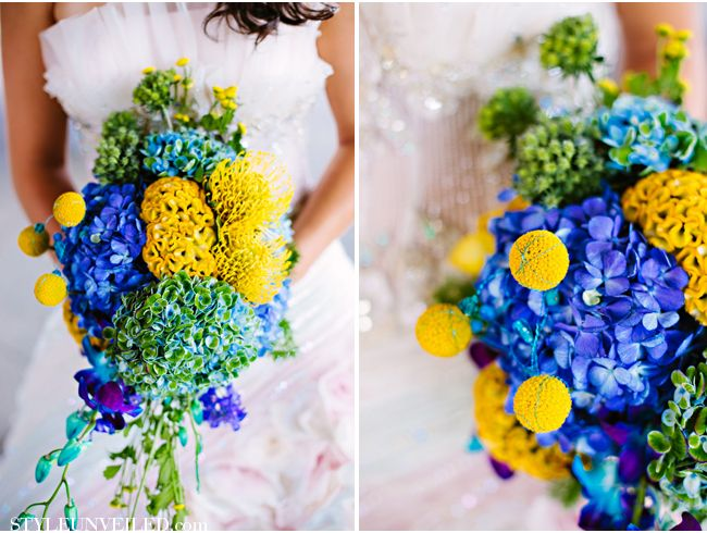 Blue Green Yellow Purple Wedding Ideas Inspired by Science. Published on Style Unveiled. Nicole Chan Photography