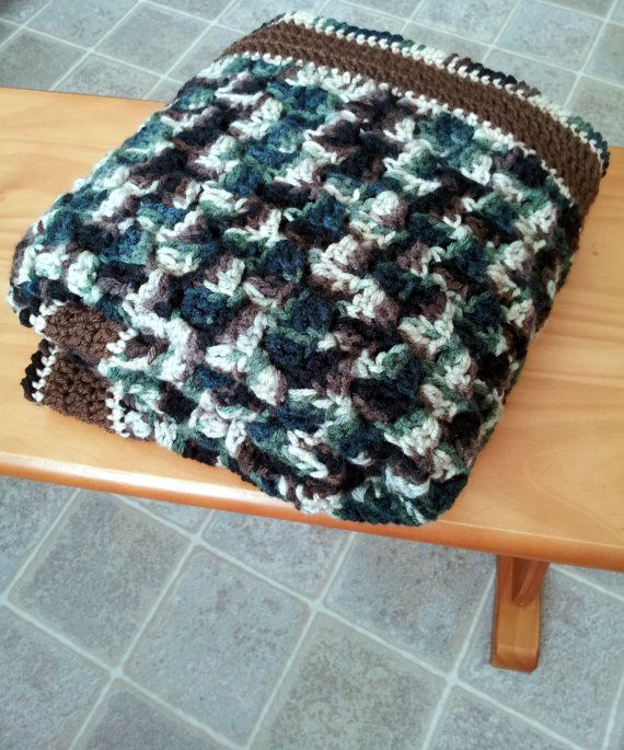 Cute and super easy baby blanket. Corner Stitch Camo Baby Blanket Crochet by outofinkpatterns, $2.00