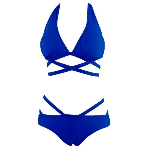 Hot Crossed Strap Halter Two Piece Swimsuit OASAP.COM ($19) ❤ liked on Polyvore featuring swimwear, bikinis, halter top, swimsuits two piece, 2 piece bathing suits, halter swimsuit and swimsuits bikinis