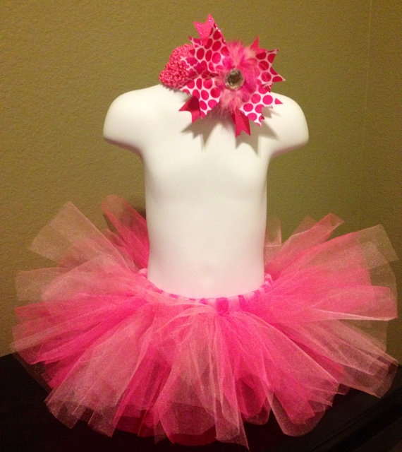 NEW BABY or TODDLER TuTu & HEADBaND Pink Party by BabyCakesByBella, $29.95