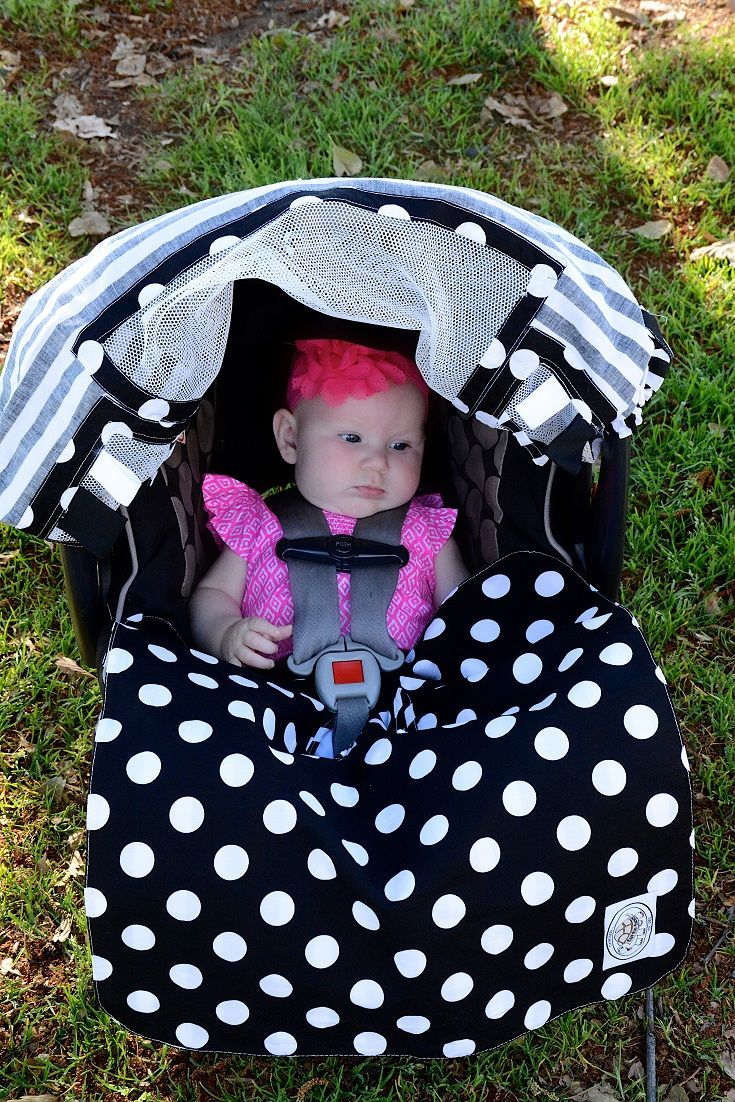 Cute black and white polka dot buckle blanket and car seat cover.