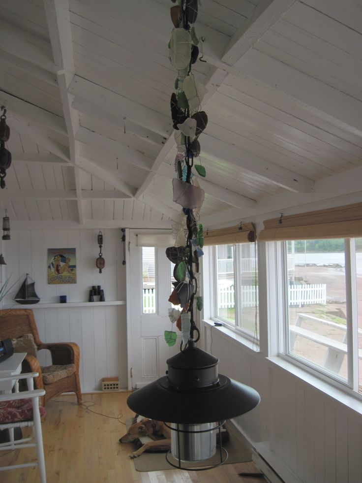 Beach glass adorning the light fixture at Toabh Na Mara Cottage, Pugwash, Nova Scotia Canada (photo Cynthia Bennett)