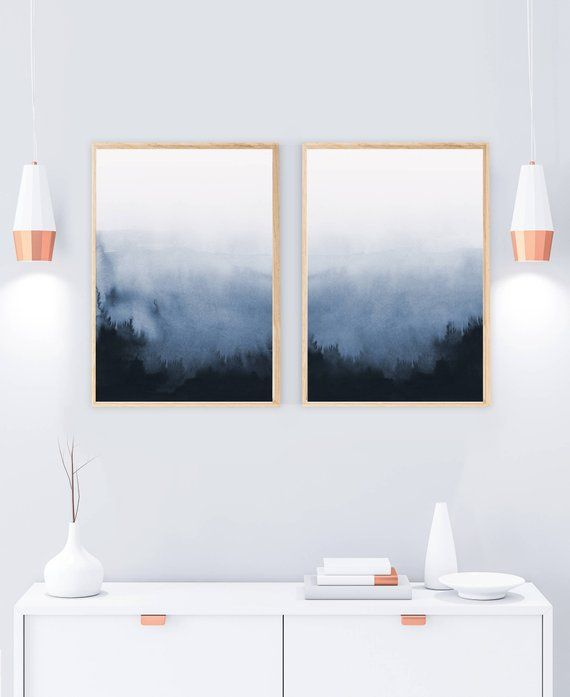 Set of 2 Prints, Abstract Art, Printable Print Set, Two Prints, Blue Wall Art, Blue and White, Living Room Art, Bedroom Art, Foggy Forest