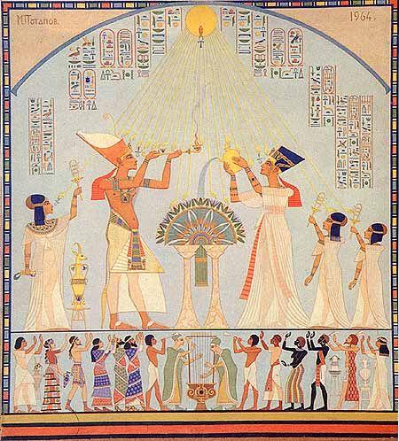 Михаил Потапов художник. Эхнатон и Нефертити возносят молитву Атону. 1964-1986 гг.