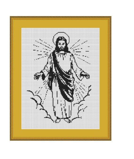 Counted Cross Stitch Pattern Embroidery Chart PDF Jesus Christ