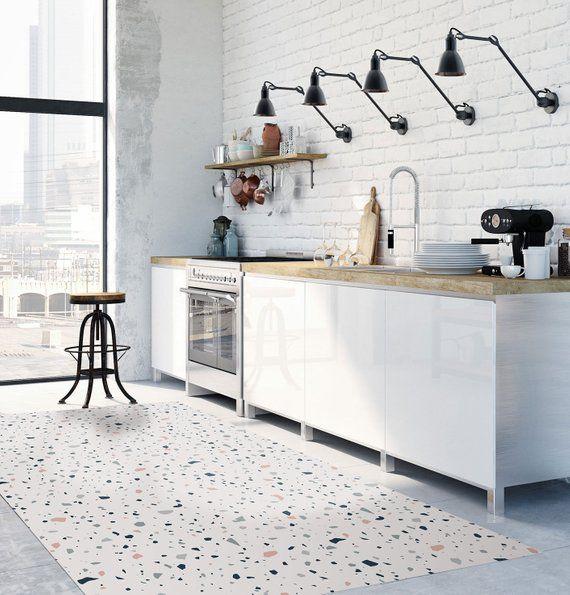Terrazzo Floor Mat Scandinavian Style Modern Rug Decorative Linoleum Area Rug Kitchen Mat Pvc Rug Stylish Carpet Geometric Design Rug Terrazzo Flooring Kitchen Mats Floor Kitchen Flooring