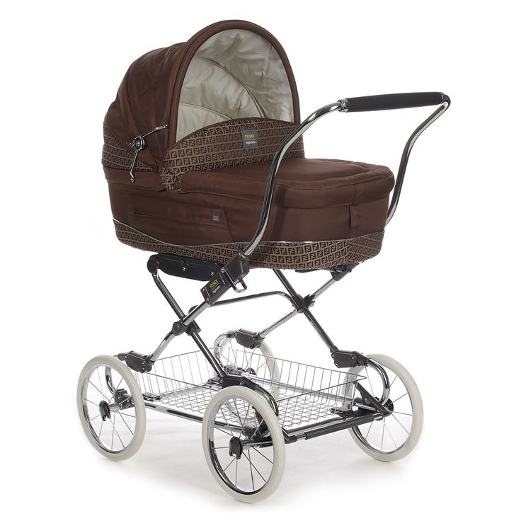 Fendi has a stroller?? ......Brown Zucca Logo Pram | Childrensalon