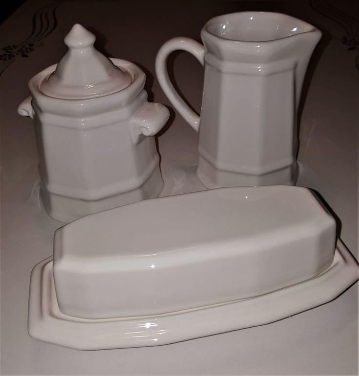 Vintage Pfaltzgraff White Heritage Creamer and Lidded Sugar Bowl Butter Dish  #Pfaltzgraff
