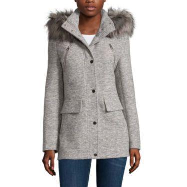 OMG LOVE Size medium jcp | a.n.a® Faux-Fur Trim Anorak Wool Coat - Tall