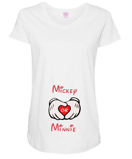 Mickey or Minnie Maternity Personalized Shirt, Maternity Shirt, Personalized Maternity Shirt, Gender Reveal by ChicDesignsStudio on Etsy