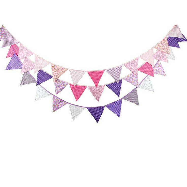 💓 3pcs/Lot 3.2M 12flags Baby Shower Fabric pink purple Bunting Wedding Decoration girl birthday party decorations kids Garland