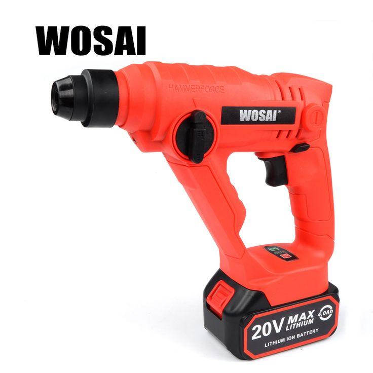 WOSAI 20V Lithium Battery Rotary Hammer Power Tool Cordless Hammer Electric Drill купить на AliExpress