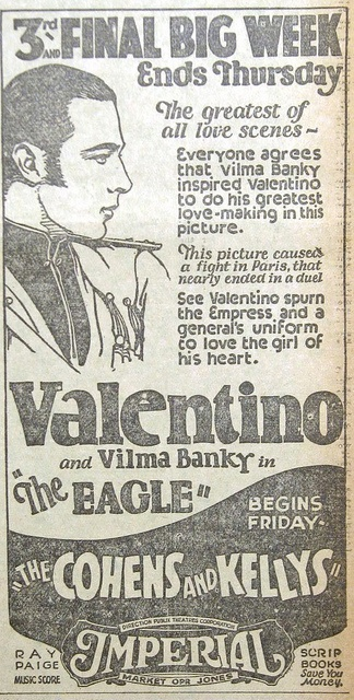 """1926 Valentino newspaper advertisement for """"The Eagle""""    From a page that came from a February 13, 1926 San Francisco Chronicle newspaper that features a vintage silent movie ad for """"The Eagle"""" starring Rudolph Valentino."""