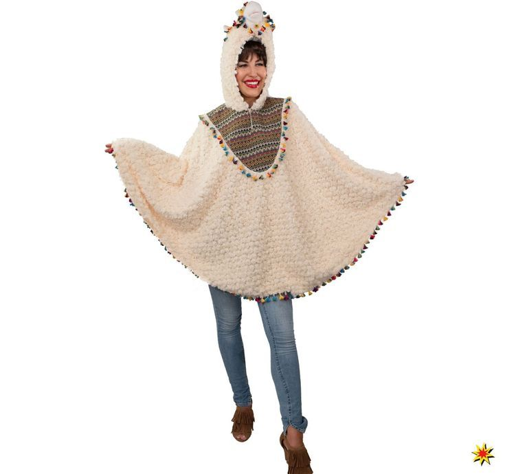 Damenkostum Poncho Lama Alpaka Lama Alpaka Karnevalskostume