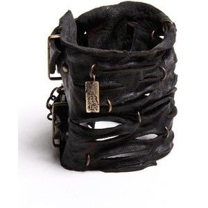 black large road warrior cuff - Castro NYC bracelets black leather cuff with slits all around featuring copper rings
