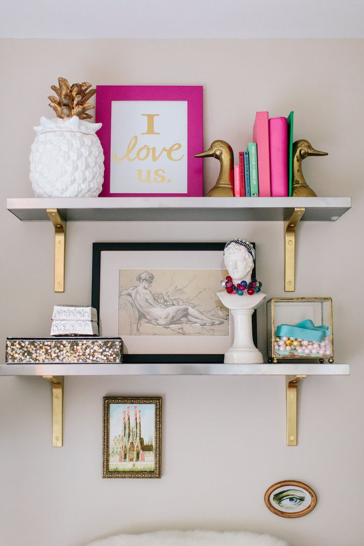 Floating white and gold shelves add more space when you are limited. Use your wall area to allow for more storage of things you like, need, or want to show for creativity.