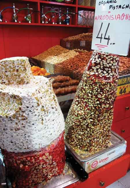 Candies and nuts at the historic Spice Bazaar.