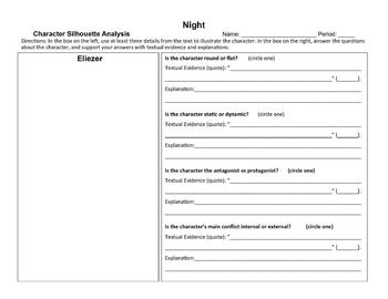 Night by Elie Wiesel Character Analysis Graphic Organizers   dave ...
