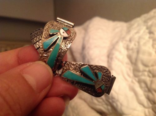 Vintage-Sterling-Silver-925-Zuni-Sun-Face-Turquoise-Watch-Band-end-Tips-unisex