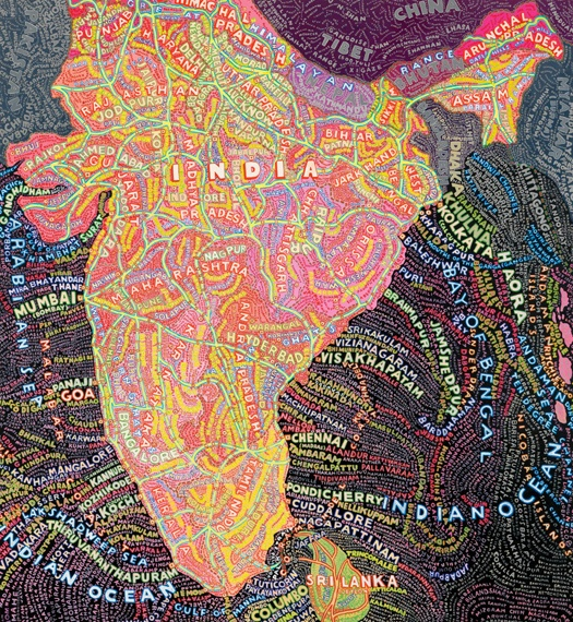 Paula Scher is also known for her map design/paintings. This is an India typographic map she painted.