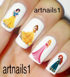 Disney Princess Nails Art Polish Manicure Cosplay Costume Wedding Mani Pedi Bridal Snow white Sleeping Beauty Belle Beast Merida gift nail