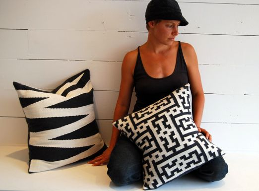 Zebra and Myriad pillow in black and white love the graphic yet textural quality of these alpaca pillows