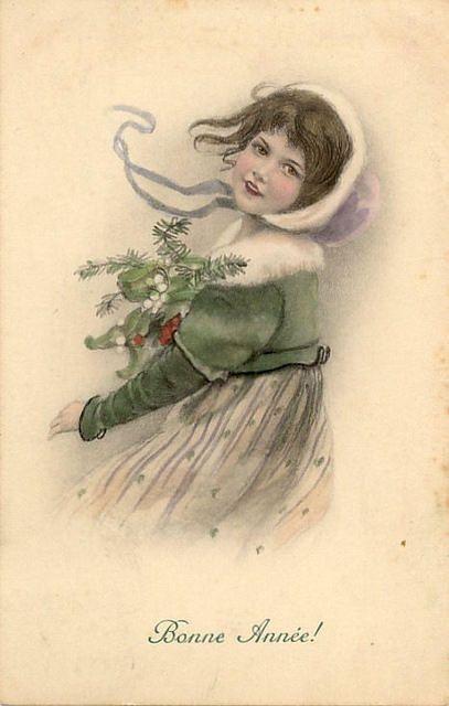 little girl illustration ~ Bonne Annee!