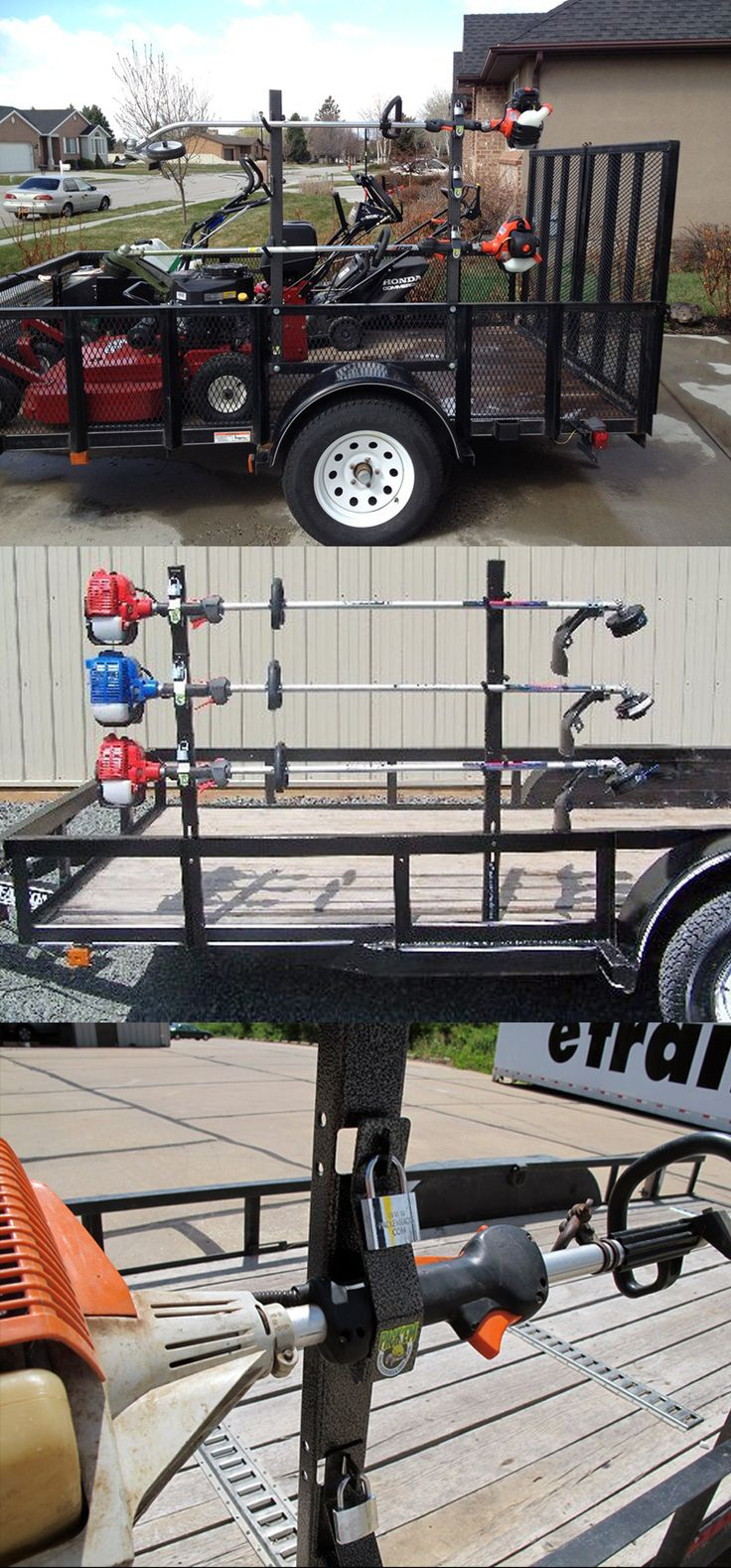 Grass Trimmer Rack for Open Utility Trailers - the perfect storage unit/accessory while on the road. Holds up to 3 string trimmers or weed whackers.