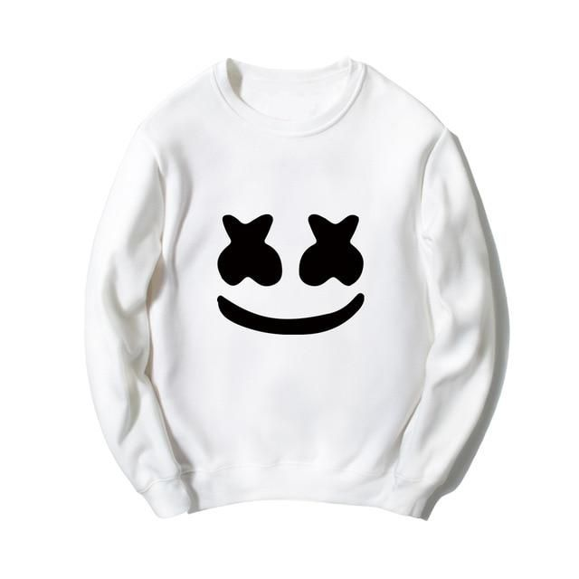 080e9cac5a2 2018 New Arrival music band marshmello face hoodies men womens casual homme  wear plus size O-neck sweatshirts smile face hoodies