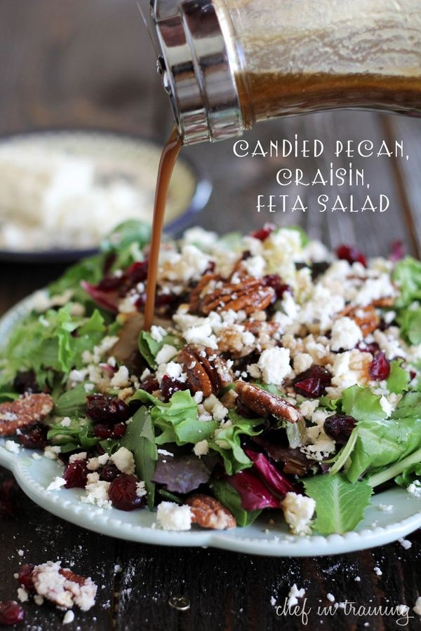 This candied pecan craisin feta salad with creamy balsamic vinaigrette is sure to be a huge hit! | chef in training