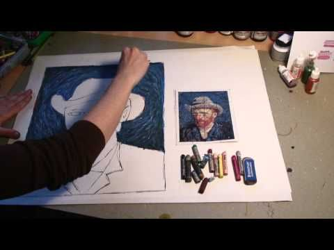 """I created this video to help my students learn the process of oil pastels. This is a Vincent Van Gogh ""Self-Portrait"" reproduction."""
