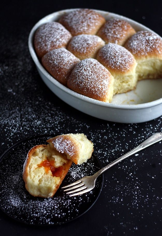 Recipe for Buchteln, Austrian pull-apart style yeasted sweet buns, filled with apricot jam.