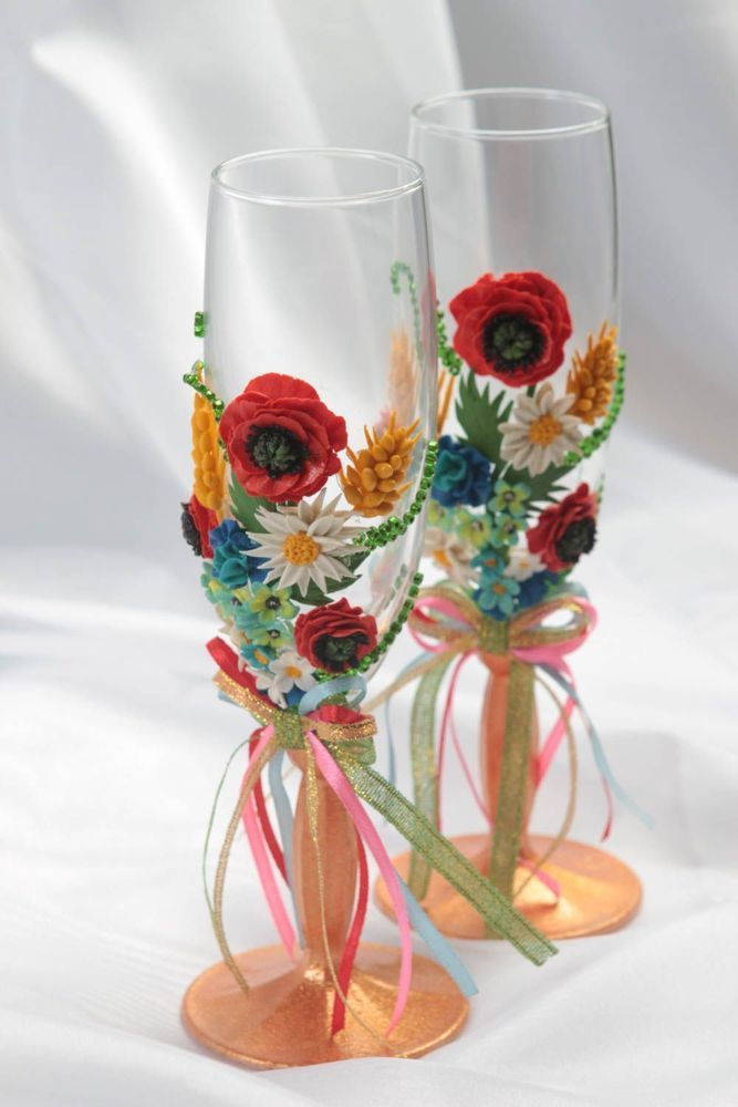 Handmade decorated wine glasses wedding or interior champagne glasses clay decor