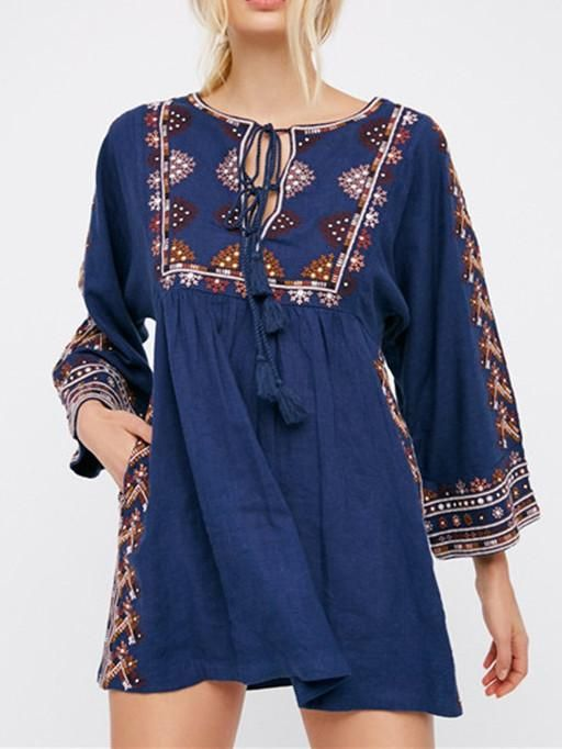 Retro National Style Inwrought Floral-Print Tassels Half Sleeve Round – oshoplive