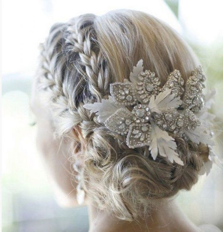 Double braids and a fun accessory for pretty bridal hair
