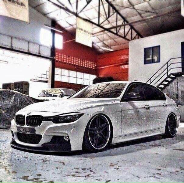 BMW F30 3 series white slammed