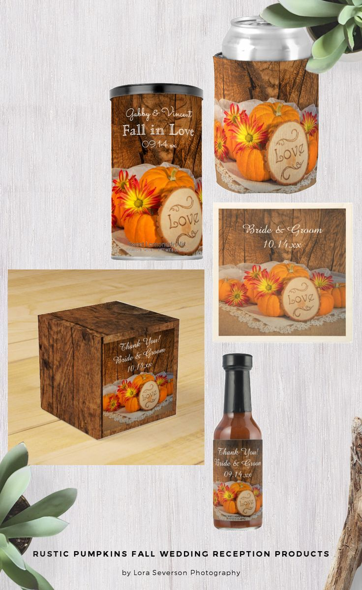 Set a casual yet classy tone for your September, October or November post marriage party with the charming Rustic Pumpkins Fall Wedding Reception Products. Personalize Rustic Pumpkins wedding favors, favor bags and tags, disposable paper napkins and coasters, menus and table numbers. Each customizable product features a quaint floral photograph of little orange pumpkins, red and yellow daisies and wood slice with the word LOVE burned on it with a brown weathered barn wood background…
