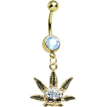 Gold Plated Aurora Jeweled Baby Pot Leaf Belly Ring | Body Candy Body Jewelry