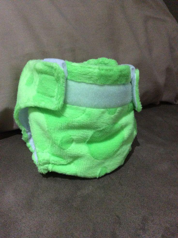 Minky green spot nappy