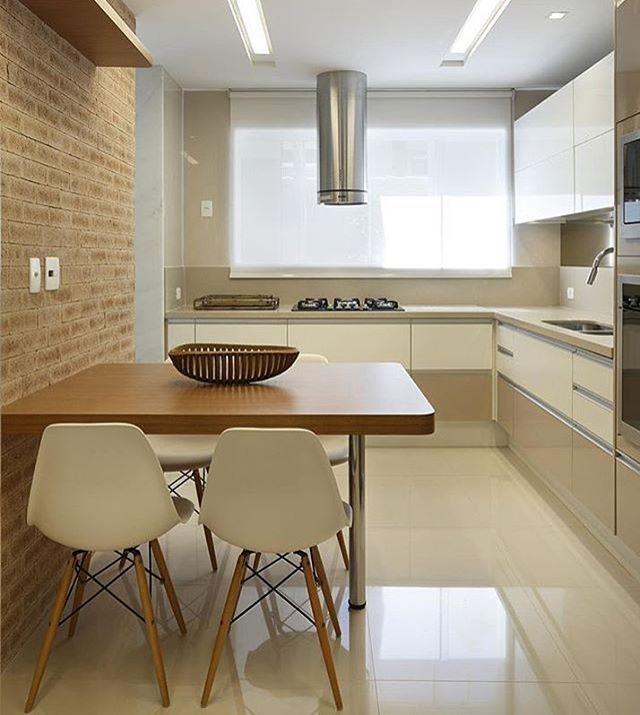 Cozinha l Parede de tijolinho Projeto claudia_pimenta
