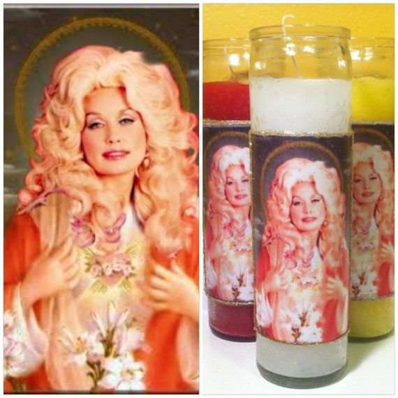 Saint Dolly Parton Prayer Candle Religious Retro Kitschy DUMB ASS DAVID KELLY WOULD LOVE THIS