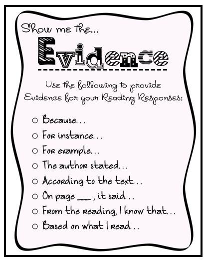 Suggested starts for getting students to support what they are saying with facts or evidence from their reading....use in their reading journals and their writing portfolios