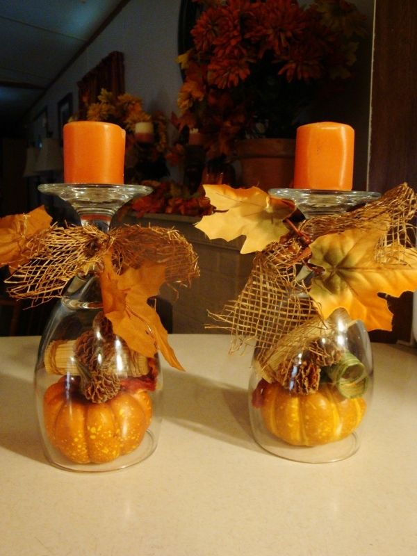 Fall Drinking Glass Candleholders. You can also use wine glasses to make these, but I preferred the chunky drinking glasses for this fall craft project