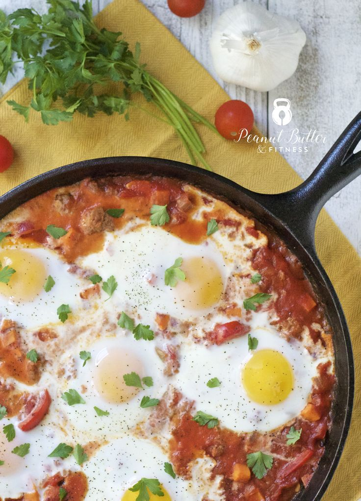 Hearty Sausage and Sweet Potato Shakshuka - a paleo-friendly dish that's perfect for brunch or breakfast-for-dinner!  Yield: 6 servings • Calories per serving: 297 • Fat: 14 g • Protein: 21 g • Carbs: 23 g • Fiber: 4 g • Sugar: 1 g • Sodium: 724 mg • Cholesterol: 226 mg