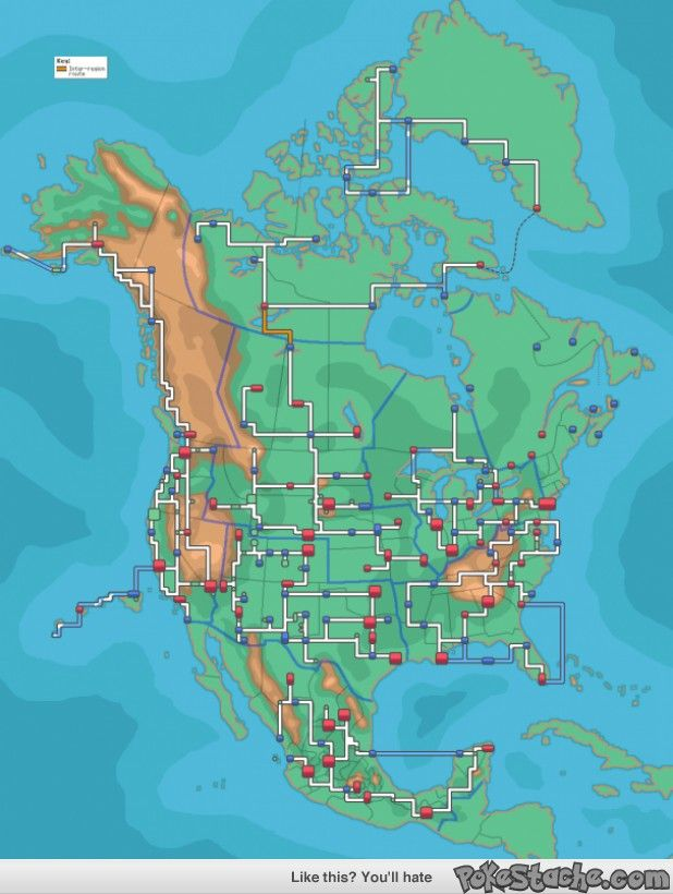 What North America would look like if it was in a Pokémon game