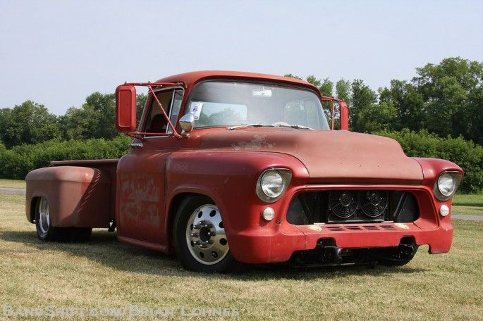 1957 chevy 2 ton truck, built with a 70's panel truck frame, powered but a cumming engine and Allison trans, 7'' Z in the frame just behind the cab,the bed can also haul a 4x8 sheet in the box completly because its 9'2'' long and 52'' wide