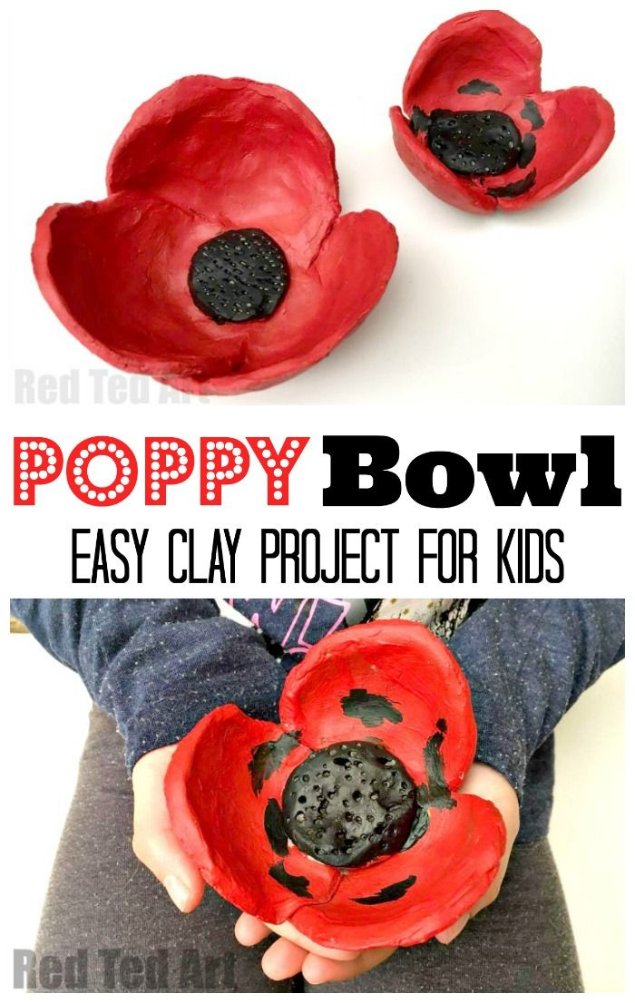 Easy DIY Poppy Bowls. These Poppy Bowls are simple for kids to make. They are fabulous for Remembrance Day or for as a homemade gift that kids can make!