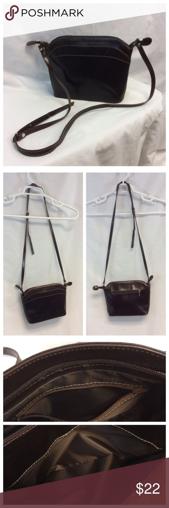 """VERA PELLE CROSSBODY BAG VERA PELLE Brown Crossbody Bag, made in Italy, believed to be leather. Approximate measurements are 7"""" X 10"""" X 2 1/2"""". There is a surface scratch in the leather as seen in bottom of last photograph. 0185 Vera Pelle Bags Crossbody Bags"""