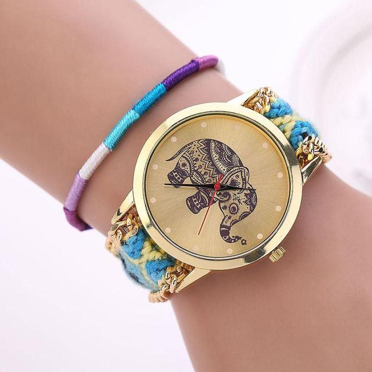 New Design relogio feminino Retro Clock Women Girl watches Handmade Braided Elephant Bracelet Dial Quarzt Watches ladies watch